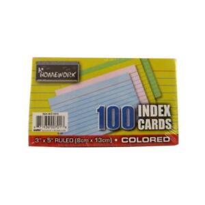 Index Cards Asst colors Ruled 100 Ct 3 X 5 Case Pack 48