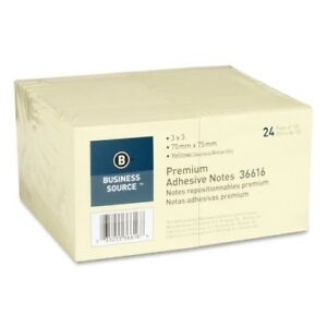 Business Source Adhesive Notes 100 Sheets 3 x3 24 pk Yellow Case Pack 4