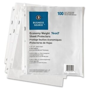 Business Source Sheet Protectors top Load 3hp 2 0mil 11 x8 1 2 100 pk clear