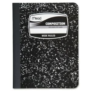Mead Composition Book wide Ruled 100 Sheets 7 1 2 x9 3 4 black Case Pack 14