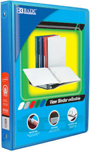 Bazic 1 2 Cyan 3 ring View Binder With 2 pockets Case Pack 12