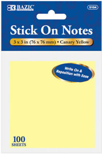 Bazic 3 X 3 Yellow Stick On Notes 100 Count Case Pack 288