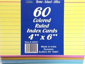 60 4x6 Ruled Colored Index Cards Case Pack 48