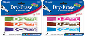 Bazic Bright Color Chisel Tip Dry erase Markers 3 pack Case Pack 12
