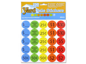 Yard Sale Pricing Stickers