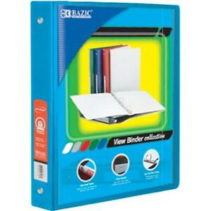 Bazic 1 Cyan 3 ring View Binder With 2 pockets Case Pack 12