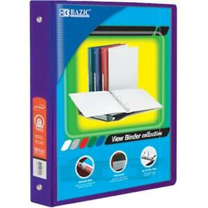 Bazic 1 Purple 3 ring View Binder With 2 pockets Case Pack 12