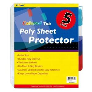 5 Pack Poly Sheet Protectors With Colored Tabs Case Pack 48