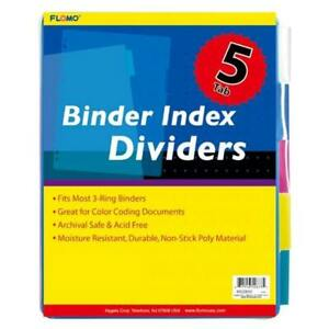 5 Pack Poly Binder Index Dividers With Colored Tabs Case Pack 48