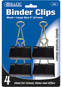 Bazic Large 2 51mm Black Binder Clip 4 pack Case Pack 24