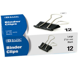 Bazic Large 2 51mm Black Binder Clip 12 box Case Pack 12