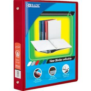 Bazic 1 5 Red 3 ring View Binder W 2 pockets Case Pack 12
