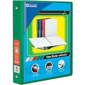 Bazic 1 5 Green 3 ring View Binder W 2 pockets Case Pack 12