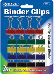 Bazic Small 3 4 19mm Assorted Color Binder Clip 20 pack Case Pack 12