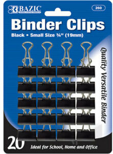 Bazic Small 3 4 19mm Black Binder Clip 20 pack Case Pack 24