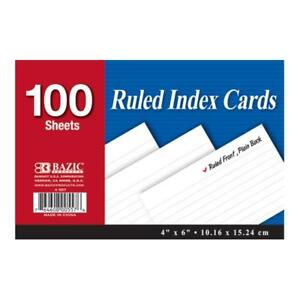 Bazic 100 Count 4 X 6 Ruled White Index Card Case Pack 24