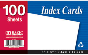 Bazic 100 Count 3 X 5 Unruled White Index Card Case Pack 36