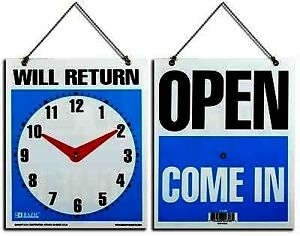 Bazic 7 5 X 9 will Return Clock Sign W open Sign On Back Case Pack 24