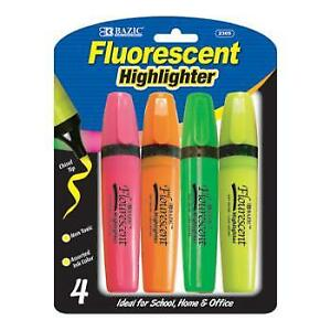Bazic Fluorescent Highlighters W Pocket Clip 4 pack Case Pack 24