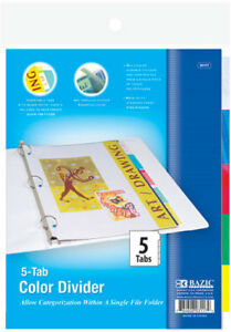 Bazic 3 ring Binder Dividers W 5 insertable Color Tabs Case Pack 24