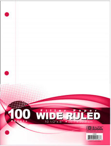 Bazic Filler Paper Wide Ruled 100 Sheets Case Pack 36