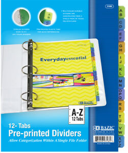 Bazic 3 ring Binder Dividers W 12 preprinted A z Case Pack 24
