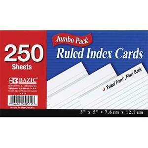 Bazic 200 Ct 3 X 5 Ruled White Index Card Case Pack 36