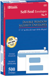 9 Self seal Security Double Window Envelopes Case Pack 5