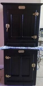 Vintage White Clad Oak Ice Box End Table Nightstand Cabinet Fresh Paint