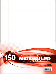 Bazic Filler Paper Wide Ruled 150 Sheets Case Pack 24