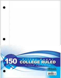 Bazic Filler Paper College Ruled 150 Sheets Case Pack 24