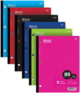 Bazic W r 80 Ct 1 subject Wireless Notebook Case Pack 24