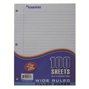 Filler Paper Wide Ruled 100 Sheets Case Pack 36