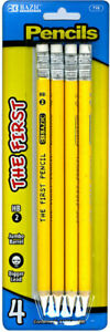 Bazic 2 The First Jumbo Premium Yellow Pencil 4 pack Case Pack 24