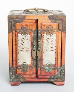 Antique Chinese Locking Jewelry Box Wood Bronze Carved Soapstone Inlay 7 Tall