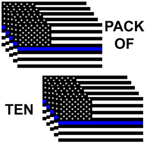 Police Officer Thin Blue Line American Flag Car Truck Decal Sticker Pack Of 10