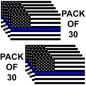 Police Officer Thin Blue Line American Flag Car Truck Decal Sticker Pack Of 30