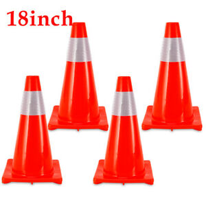 4pcs Traffic Cones 18 Fluorescent Red Reflective Road Safety Parking Cones