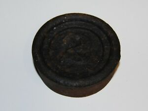 Vintage Antique Cast Iron Round Stackable Scale Weight 2 Lbs Two Pounds
