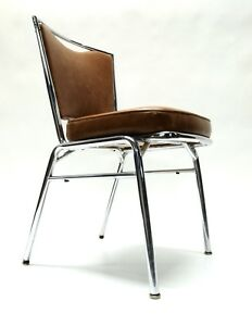 Vintage Mid Century Chrome Dining Room Side Desk Chair