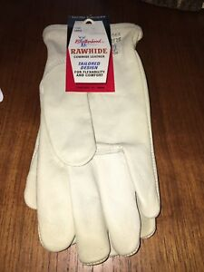 Vintag Wells Lamontbrotherhood 1190 Raw hide Leather Work Gloves Size Large