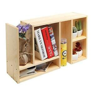 Beige Wood Adjustable Desktop Organizer Book Shelf Supply Storage Rack