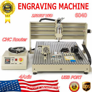 1 5kw Cnc6090 4axis Router Engraver Metal Wood Drilling Milling Machine Usb Port