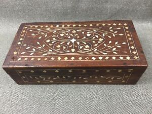 Antique Anglo Indian Hoshiarpur Wooden Trinket Box With Inlay