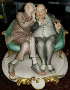 G Cappe Capodimonte Figurine Works Of Art Italy 59 45 Two Men On A Couch Sharin