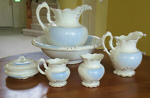 Lovely 6 Piece Antique Victorian Pitcher Washbowl Chamber Set Dresden Pottery