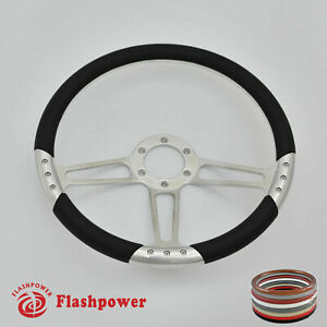14 Billet Satin Steering Wheel Black Full Wrap Ford Gm Corvair Impala Chevy Ii
