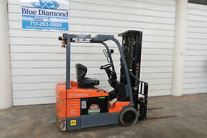 2011 Toyota 7fbeu18 3 500 Electric Forklift 36 Volt 3 Stage S s Es Rated