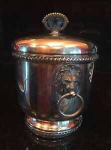 Vintage Silver Plate Plated Lion Head Hammered Ice Bucket Lining Cover Ring