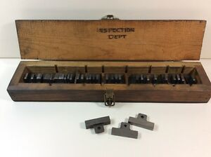 Vintage Block Gage Gauge Set Rectangle Wood Box